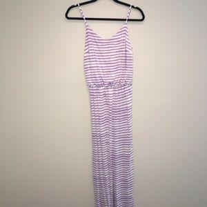 Lavender stripe jersey maxi dress NWOT